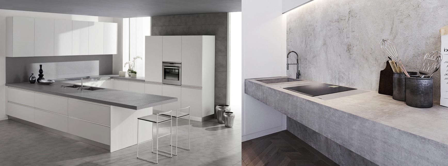 Cocinas modernas. Tendencias en diseño de cocinas 2017. Encimera de hormigón